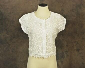 CLEARANCE SALE vintage 80s Blouse - 1980s Sheer White Shirt - Ribbon Applique Crop Top Sz S
