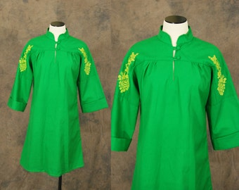 vintage 70s Dress - 1970s Embroidered Green Tent Dress Sz M