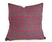 Rustic Wool Plaid Pillow Cover, Masculine Throw Pillows, Dark Red Blue Green, Couch Cushion Covers, Man Cave Pillows, 20x20, 50x50 cm