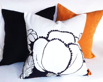 Navy White Pillow, Large Flower Pillow Cover, Floral Pillows, Floral Silhouette Pillows in Black Navy, Cobalt Blue, Spring Home Decor, 18x18