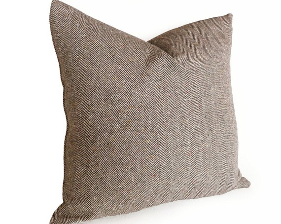 Herringbone Tweed Wool Pillows, 20x20 Menswear Inspired Decor, Accent, Brown Cream, Woodland, Country Lodge, Rustic Cushion Cover, NEW