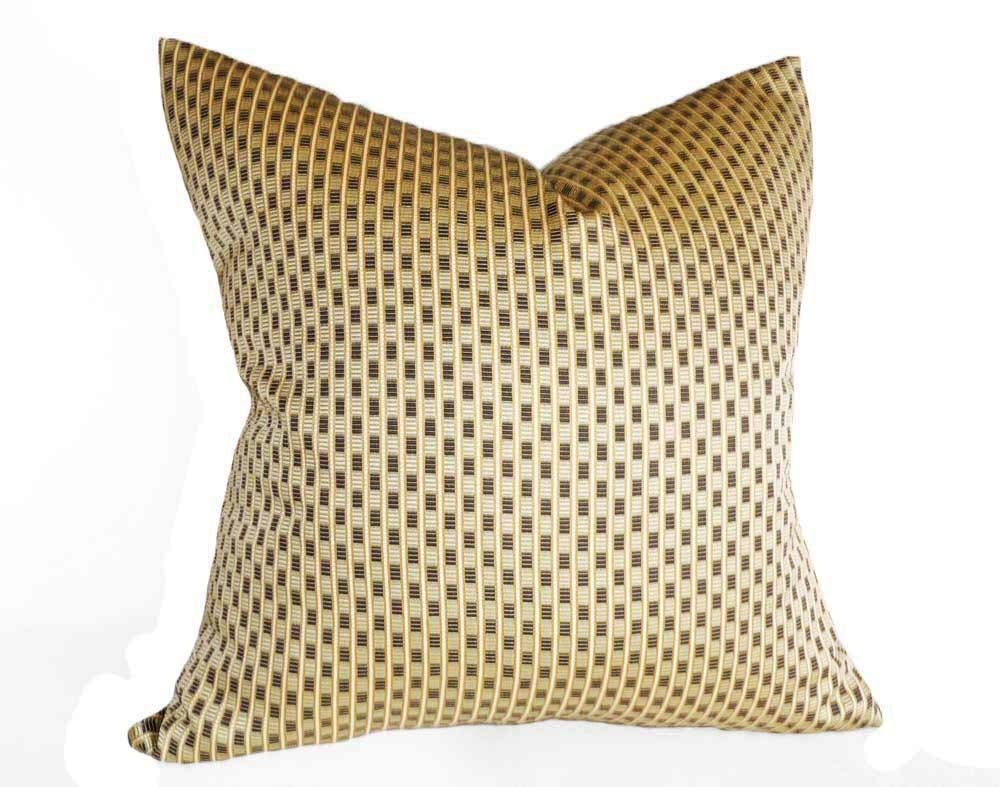 Throw Pillows Gif : Gold Black Throw Pillow Checked Accent Pillows Mens Home