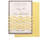 Chevron Wedding Invitations - arrow wedding invites, yellow, gray, chevron invitation, lasercut invitation, herringbone, baby announcement