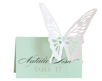 Butterfly Escort Cards - wedding, place card, table number, menu, sign, seating, intricate, mint, white, insect, woodland, luxury, charming