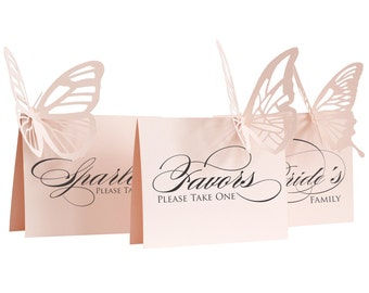 Wedding Favors Sign - wedding signage, neutral, butterfly, reception sign, table sign, lasercut, graceful, lovely, beautiful, refined, luxe