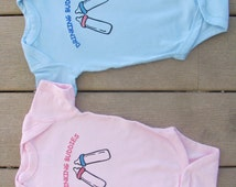 Drinking Buddies Twin baby bodysuits.  White Long Sleeve available