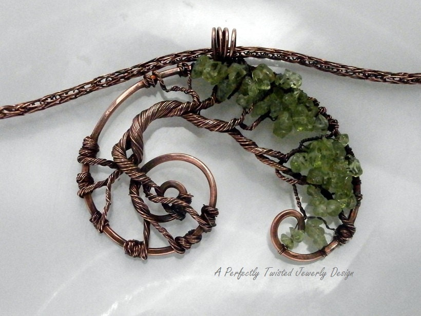 wire wrapped tree of pendant necklace peridot gemstone