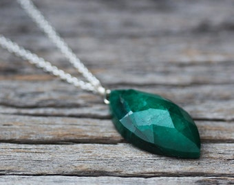 Emerald Marquis Pendant Necklace, Genuine Emerald Beryl, May Birthstone Sterling Silver Romantic Simple Charm Necklace Woodland Forest Green