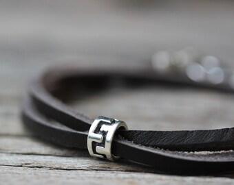 Tribal Leather Cuff Bracelet for Him, Wrap Bracelet, Eco Friendly Leather, Sterling Silver, Boho Masculine Unisex Bracelet, Brown Rustic