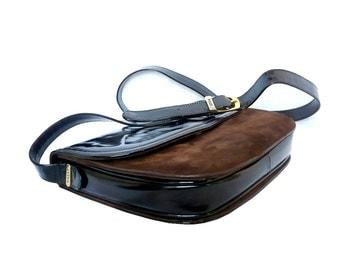 BALLY French Vintage Black and Brown  Leather Handbag/Shoulder Bag