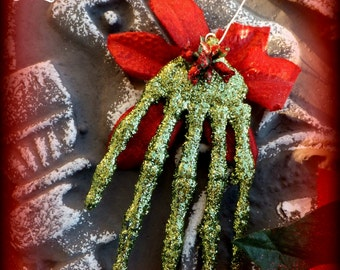 SLASHER SALE Ornamanet : Santa Claws Skeleton Hand Poinsettia Dead Girl Gothic Tree Christmas Holidays