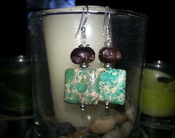 Genuine Turquoise & Wood Earrings