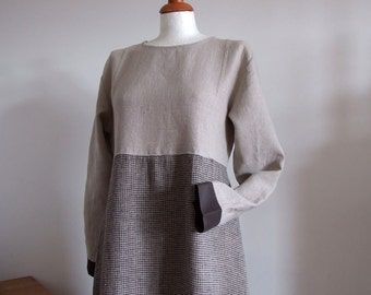 Linen dress long, two colores linen dress, color block dress, back to school linen dress, prairie girl loose fit dress with long sleeves
