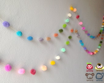 Pom Pom Garland, yarn pom pom garland, wholesale, party, pastel, bulk, colorful, rainbow, mobile, carnival, 18 feet, 6 yards, 10 strands