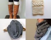 2 Knitting Patterns, Oversized Cowl Infinity Scarf & Grace Cable Boot Cuffs  - Digital PDF Knitting Pattern -