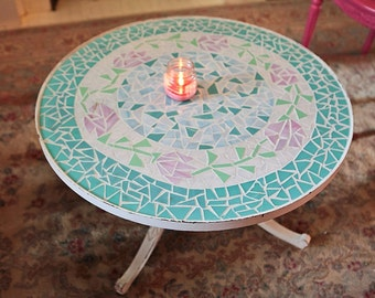 vintage coffee table shabby chic white distressed pink rose aqua mosaic glass round cottage prairie