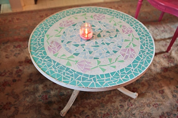 Items Similar To Vintage Coffee Table Shabby Chic White Distressed Pink Rose Aqua Mosaic Glass