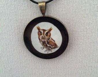 Painted Screech Owl - Resin Pendant