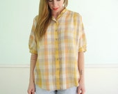 80s Farmers Plaid Vintage Half Sleeve Womens Button Down Shirt - SMALL S MEDIUM M