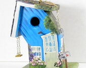 Whimsical Bent Blue Birdhouse , Handmade , Hand Painted , with Extras