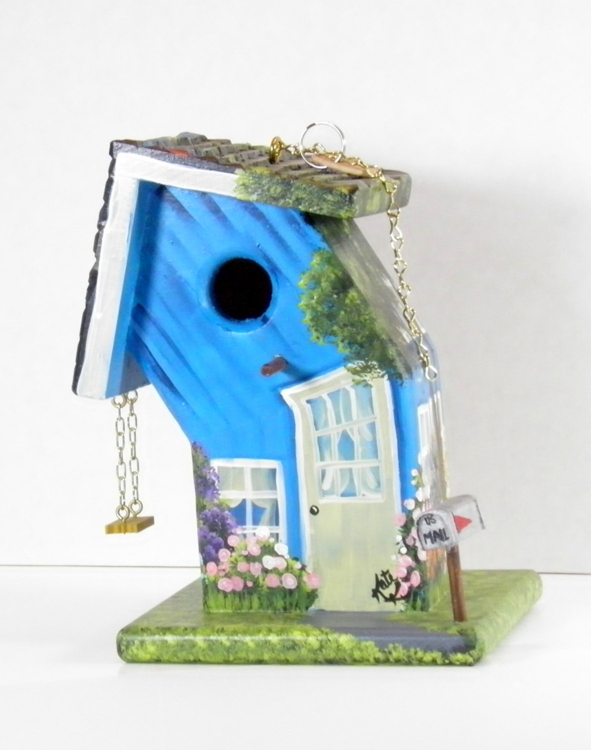 Whimsical Bent Blue Birdhouse Handmade Hand Painted with