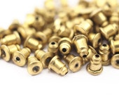 50 Raw Brass Earring Back Stopper, Earnuts 6 X 5 Mm ( A0321 )