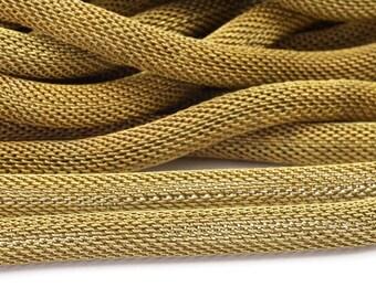 4 M - 6 Mm Raw Brass Mesh Chain Ch002  ( Z107 )