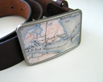 North Haven Maine belt buckle- gift boxed