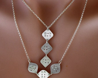 Personalized Braille THREE initial/letter Necklace in sterling silver,Custom necklace, braille jewellery,unisex jewelry, unique gift, gift