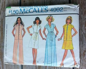 Uncut Vintage 1970's Sewing Pattern, McCalls 4992, Dress, Maxi, Skirt, Pants, Shirt, Top, Blouse, sz 10/32, Misses, woman, mod, retro