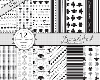 Class of 2015 Graduation papers -  digital papers for scrapbooking, cards, invites, parties - Instant download