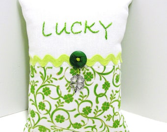 "St. Patrick's Day pillow- hand embroidered pillow- ""LUCKY"" - ivory linen and cotton shamrock print and four leaf clover charm"