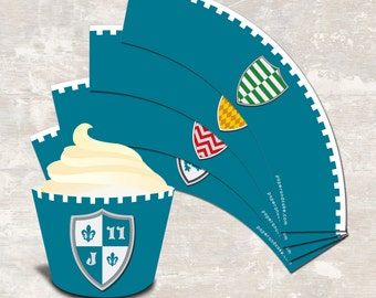 PRINT & SHIP Medieval Knights Castle Dragon Birthday Party Cupcake Wraps (set of 12)