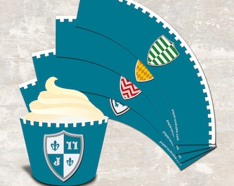 PRINT & SHIP Medieval Knights Castle Dragon Birthday Party Cupcake Wraps (set of 12) >> personalized and shipped to you | Paper and Cake