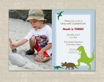 Dinosaur Custom Printable BIRTHDAY PHOTO INVITATION | Paper and Cake