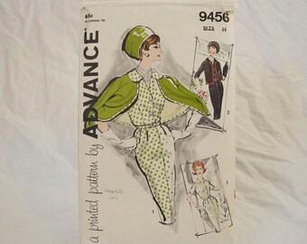 Vintage sewing pattern jacket wiggle dress 1960s Advance 9456 small medium