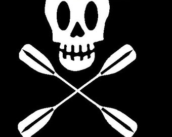 Kayak Skull Paddle Like a Kid Car Decal Sticker Personalized