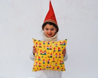 "Fairytale Elf PILLOW Sham - 14"" Throw Pillow Cover Kids Home Decor - Woodland Forest Gnomes in Red and Yellow"