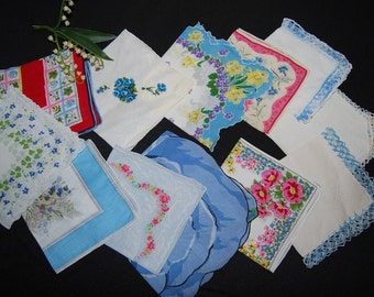 Vintage Hankie Collection Touch of Something Blue........Twelve