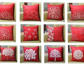 Red Throw Pillow Cover Set of 2, Mix and match pillow, Red Linen White Flower Embroidery, Floral Couch Pillow, Modern Home Decor, Cushion