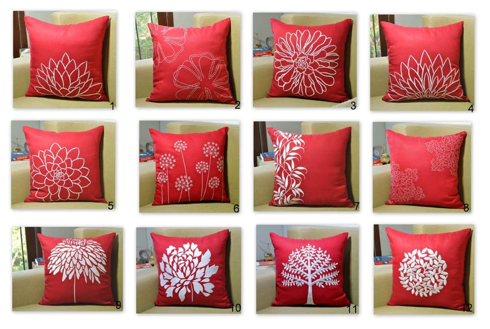 Throw Pillow Covers Set : Red Pillow Cover Pillow Cover Set of 2 Floral Pillows