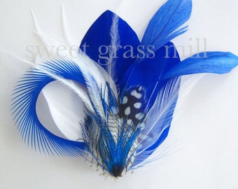 "Horizon Royal Blue Cobalt White Polka Dot Ostrich Feather Fascinator ""Marine Kiss"""