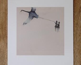 crane kite print