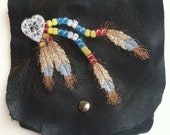 Leather Hip Bag with Machine embroidered Concho with Beads and Feathers