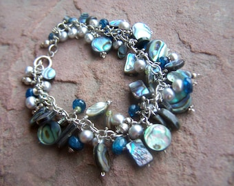 Sterling Bracelet with Abalone shell  Gray Pearl, Ocean Blue Apatite 925 Cha Cha Bracelet