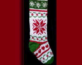 Hand knit Christmas stocking,  Personalized, made of pure wool yarn,  fully lined --  snowflake and wreath