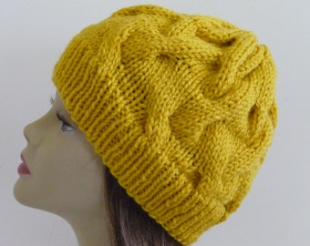 Cable Knit Hat - Soft Wave Cables in Mustard - Ready to Ship - Direct Checkout