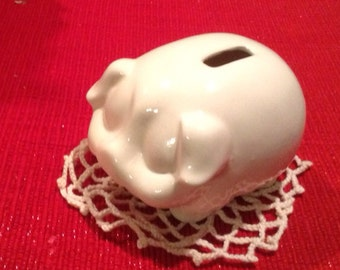 Piggy bank  White ceramic  Pig  Bank Vintage Inspired penny baby nursery decor