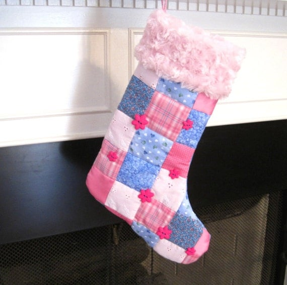 Personalized Baby or Little Girl Christmas Stocking in Pink