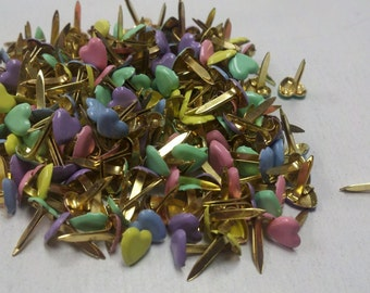 Mini Brads - Pastel Hearts - 100ct or 50ct | Scrapbooking | Paper fasteners